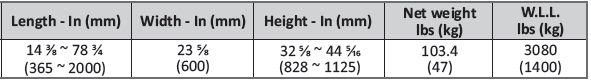 foldable table dimensions