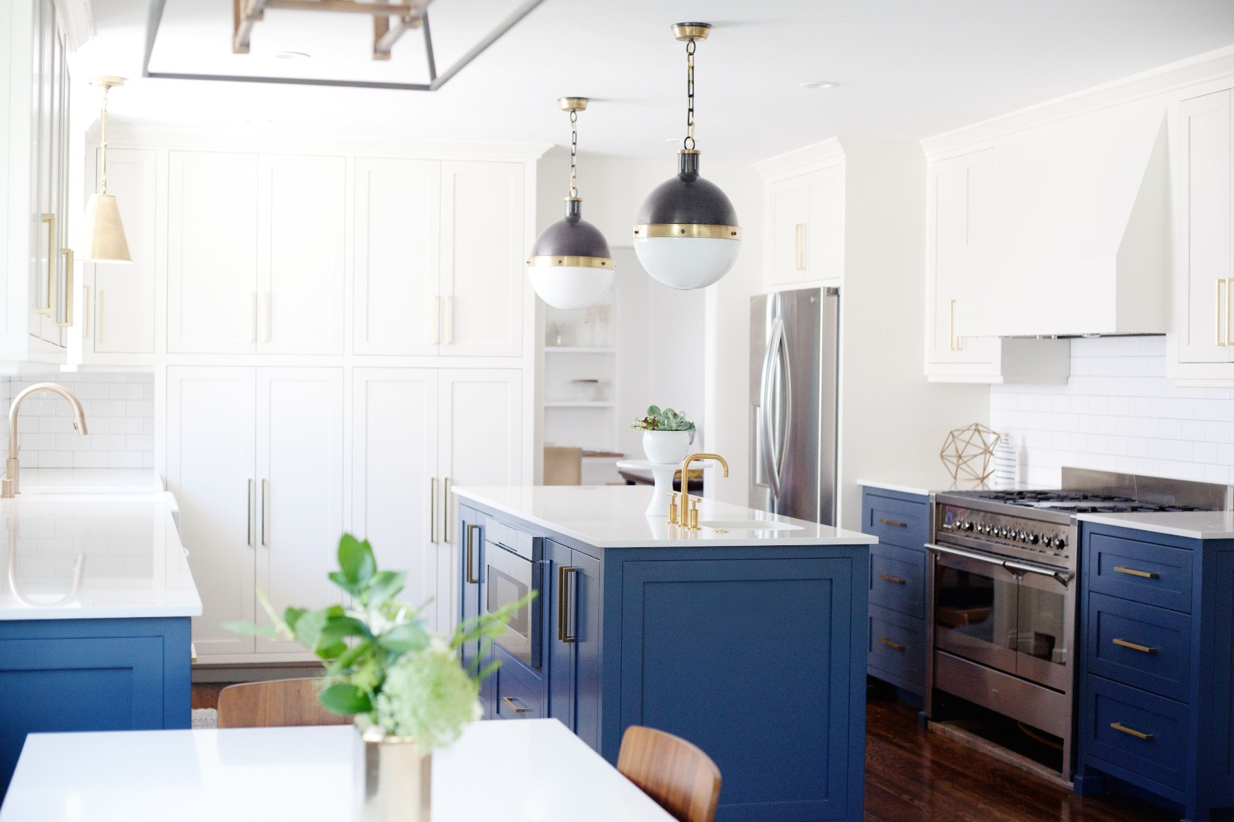 stone kitchen with gold fixings