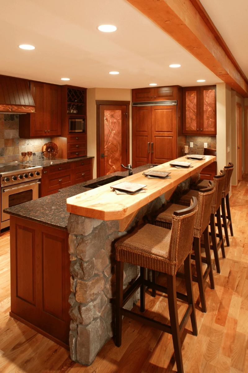 wood and stone kitchen island